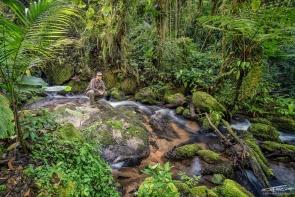 Un autoscatto nella tipica ambientazione durante un'escursione nella foresta pluviale atlantica